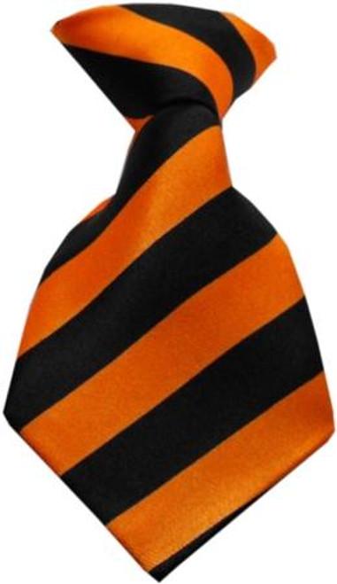 Dog Neck Tie Striped Orange