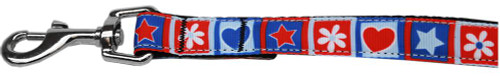 Stars And Hearts Nylon Pet Leash 1in By 6ft