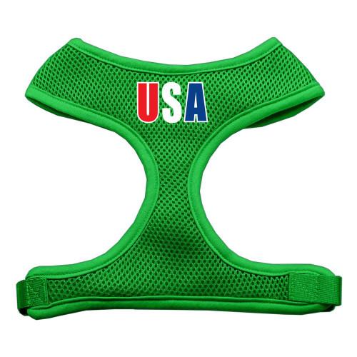 Usa Star Screen Print Soft Mesh Harness Emerald Green Extra Large