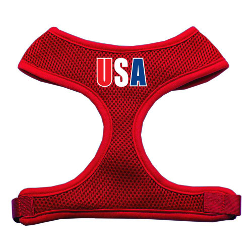 Usa Star Screen Print Soft Mesh Harness Red Extra Large