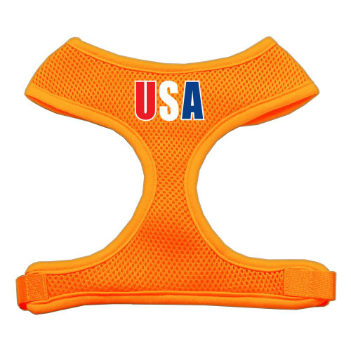 Usa Star Screen Print Soft Mesh Harness Orange Extra Large