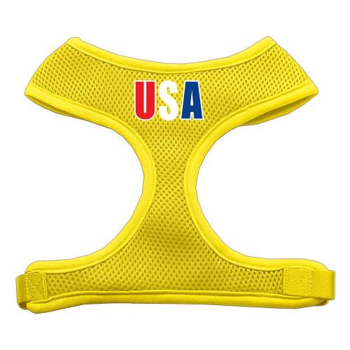 Usa Star Screen Print Soft Mesh Harness Yellow Extra Large