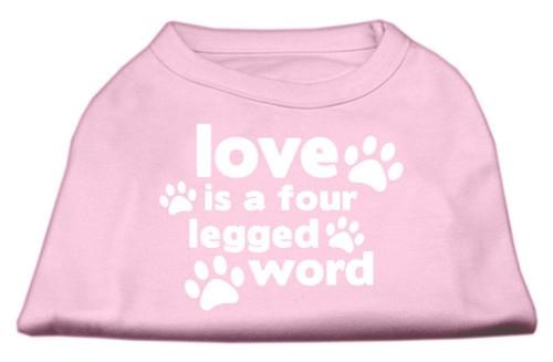 Love Is A Four Leg Word Screen Print Shirt Light Pink Med (12)