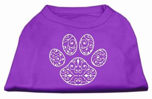 Henna Paw Screen Print Shirt Purple Med (12)