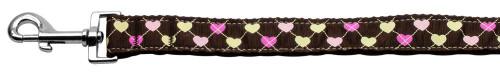 Argyle Hearts Nylon Ribbon Leash Brown 1 Inch Wide 4ft Long