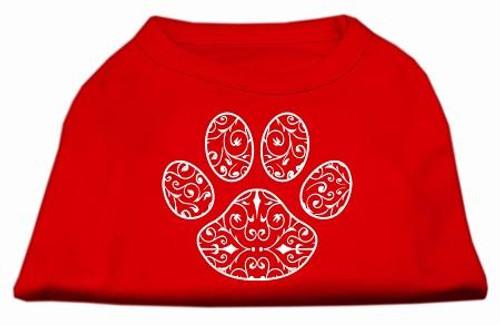 Henna Paw Screen Print Shirt Red Xxl (18)