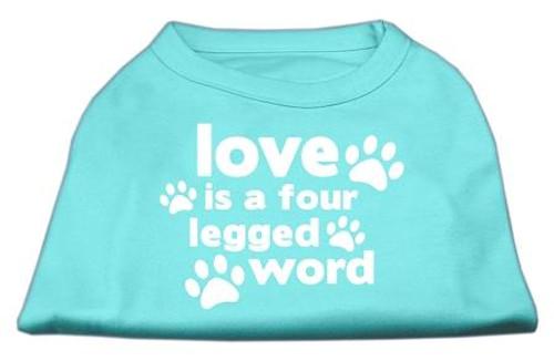 Love Is A Four Leg Word Screen Print Shirt Aqua Lg (14)