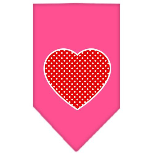 Red Swiss Dot Heart Screen Print Bandana Bright Pink Large