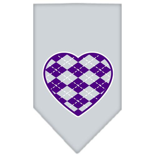 Argyle Heart Purple Screen Print Bandana Grey Large