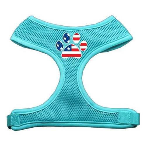 Paw Flag Usa Screen Print Soft Mesh Harness Aqua Medium