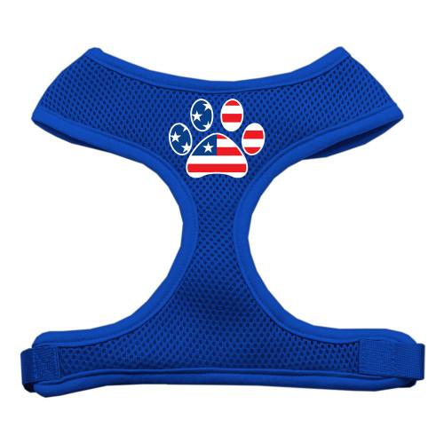 Paw Flag Usa Screen Print Soft Mesh Harness Blue Medium