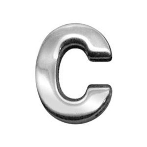 """3/4"""" (18mm) Chrome Letter Sliding Charms C 3/4'' (18mm) - 18-04 34C"""