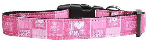 I Heart Pink Nylon Dog Collar Large