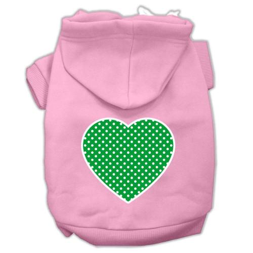 Green Swiss Dot Heart Screen Print Pet Hoodies Light Pink Size Xl (16)