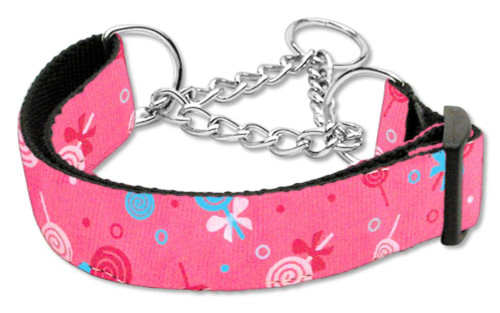 Lollipops Nylon Ribbon Collar Martingale Large Bright Pink - 125-018M LGBPK