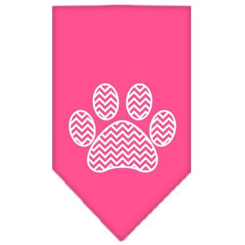 Chevron Paw Screen Print Bandana Bright Pink Large