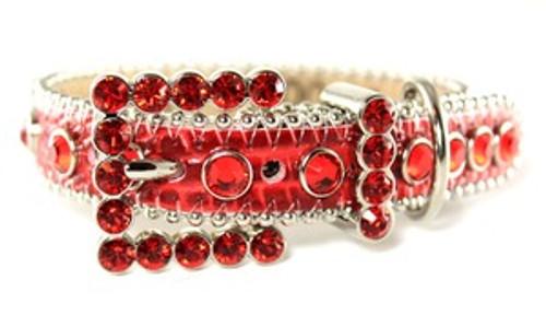 BB Simon Red Leather Swarovski Crystals Dog Collar