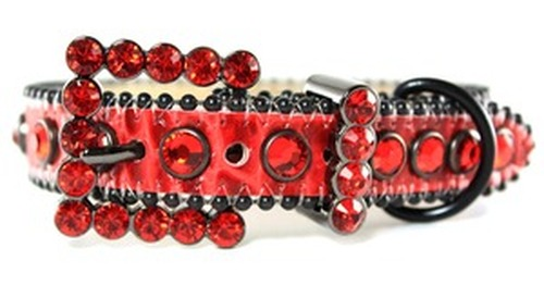 BB Simon Red Leather Swarovski Crystals Dog Collar BB-00-A-46-BF