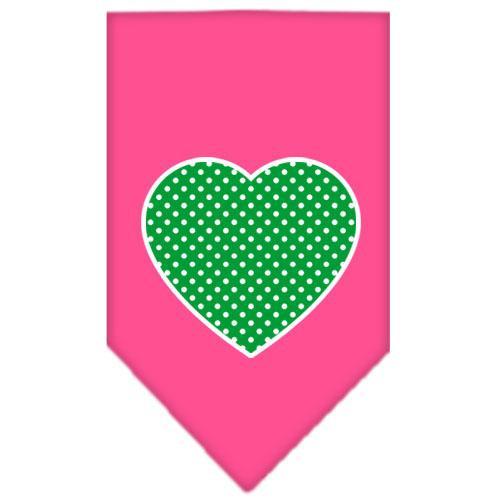 Green Swiss Dot Heart Screen Print Bandana Bright Pink Small