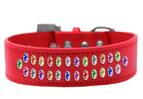 Two Row Confetti Crystal Size 14 Red Dog Collar
