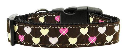 Argyle Hearts Nylon Ribbon Collar Brown Medium