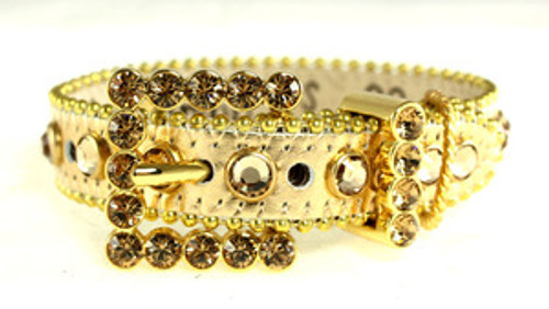 BB Simon Gold Leather with Crystals Dog Collar