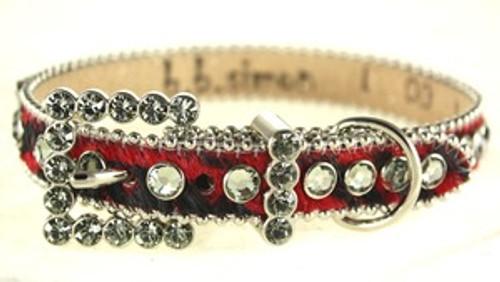 BB Simon Red Animal Print Cowhide Leather Dog Collar
