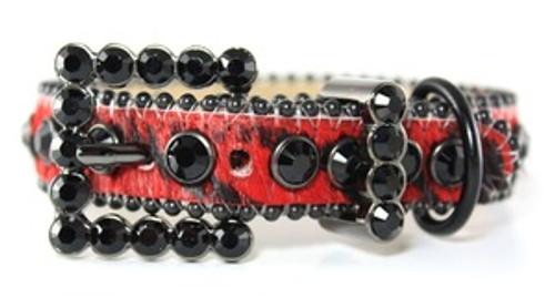 BB Simon Red Animal Print Cowhide Leather Dog Collar BB-00-A-8-JB
