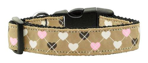 Argyle Hearts Nylon Ribbon Collar Tan Medium