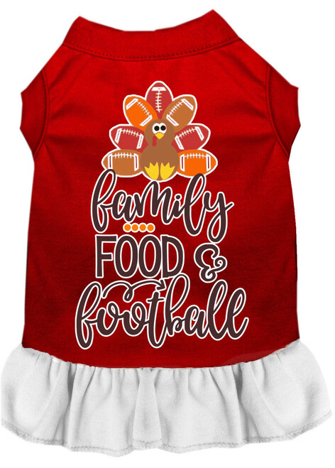 Family, Food, And Football Screen Print Dog Dress Red With White Xxxl