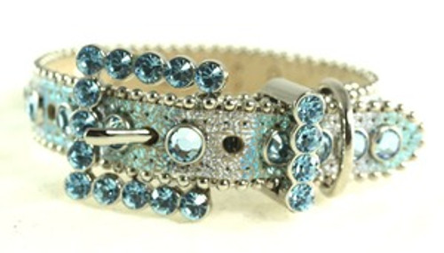 BB Simon Lt. Blue and Silver with Crystals Dog Collar