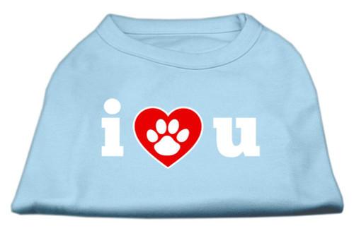 I Love U Screen Print Shirt Baby Blue Xs (8) - 51-55 XSBBL