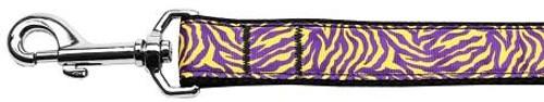 Purple And Yellow Tiger Stripes Nylon Dog Leash 4 Foot