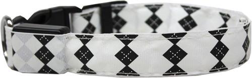 Led Dog Collar Argyle White Size Medium