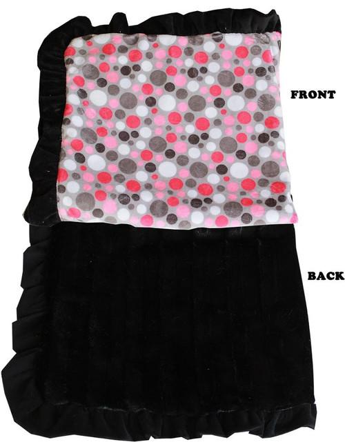 Luxurious Plush Pet Blanket Pink Party Dots 1/2 Size
