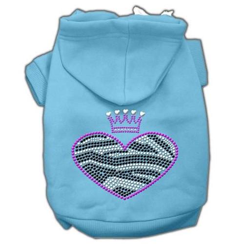 Zebra Heart Rhinestone Hoodies Baby Blue Xxxl(20)