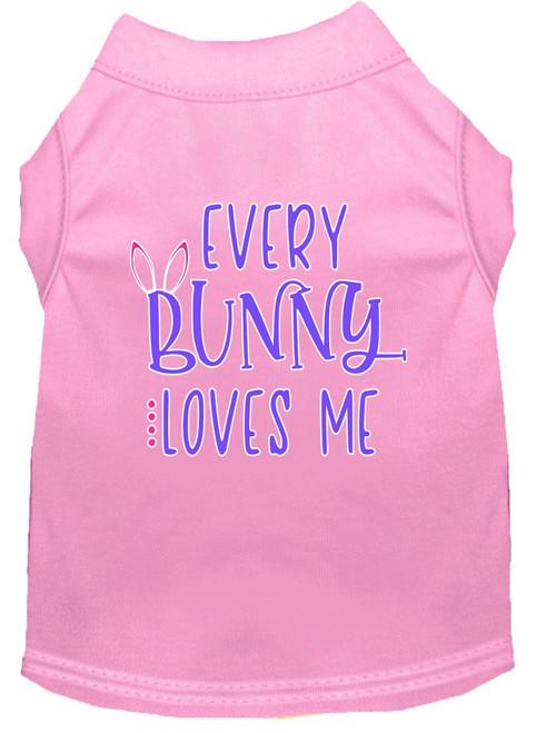Every Bunny Loves Me Screen Print Dog Shirt Light Pink Xs (8)
