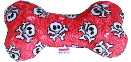 """6"""" Plush Bone Dog Toy Red Skull"""