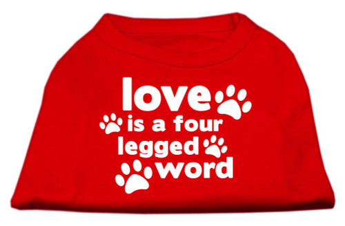 Love Is A Four Leg Word Screen Print Shirt Red Med (12)
