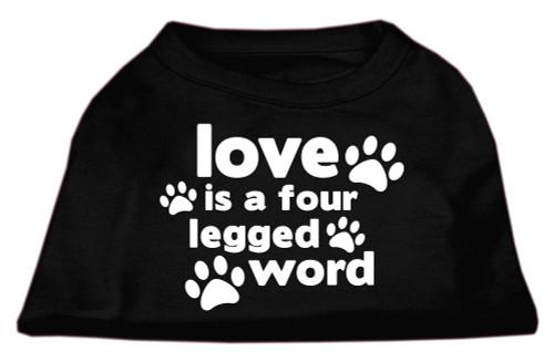 Love Is A Four Leg Word Screen Print Shirt Black Med (12)