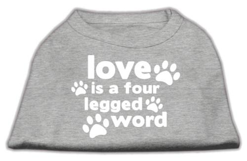Love Is A Four Leg Word Screen Print Shirt Grey Med (12)