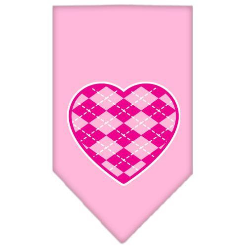 Argyle Heart Pink Screen Print Bandana Light Pink Large