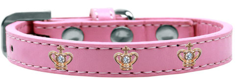 Gold Crown Widget Dog Collar Light Pink Size 16