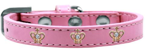 Gold Crown Widget Dog Collar Light Pink Size 14