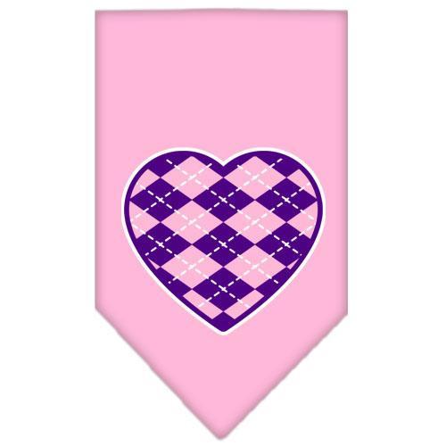 Argyle Heart Purple Screen Print Bandana Light Pink Large