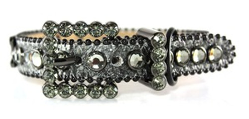 BB Simon Charcoal Leather With Crystals Dog Collar