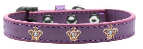 Gold Crown Widget Dog Collar Lavender Size 16