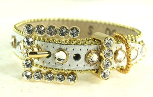 BB Simon White Acid Washed with Crystals Dog Collar