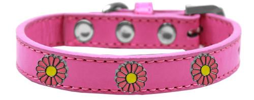 Pink Daisy Widget Dog Collar Bright Pink Size 16