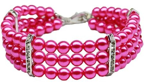Three Row Pearl Necklace Bright Pink Lg (12-14)